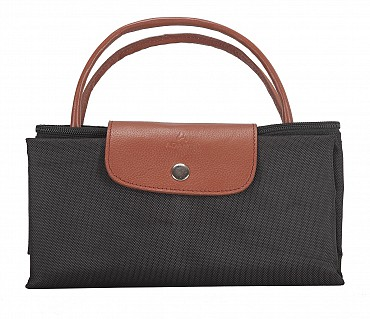 B352-Valentine-Folding Tote in Tetron Material with Genuine Leather trimmings - Black