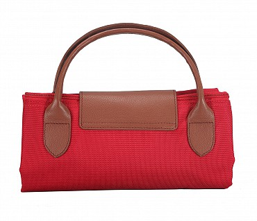 B352-Valentine-Folding Tote in Tetron Material with Genuine Leather trimmings - Red