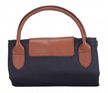 B352-Valentine-Folding Tote in Tetron Material with Genuine Leather trimmings - Blue