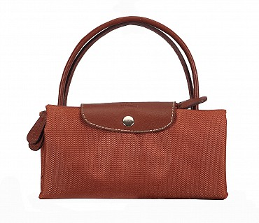 B352-Valentine-Folding Tote in Tetron Material with Genuine Leather trimmings - Tan