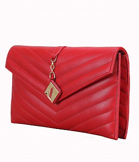 B678-Linda-Evening bag in Genuine Leather - Red