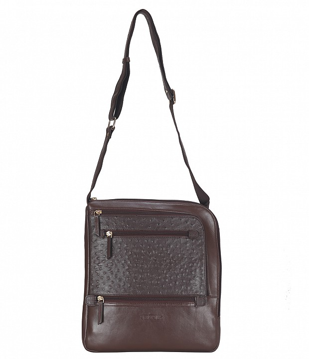 B745-Aria-Messenger cross body bag in Genuine Leather - Brown.