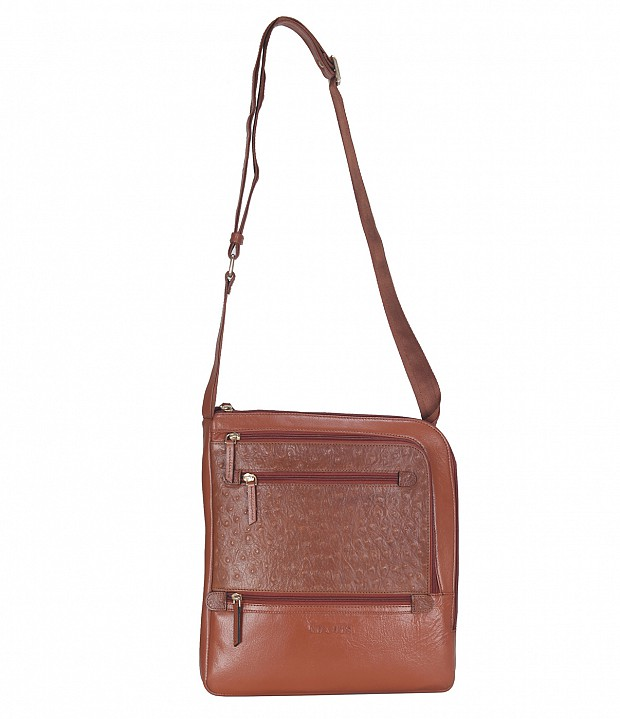 B745-Aria-Messenger cross body bag in Genuine Leather - Tan