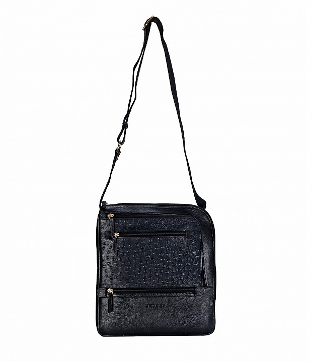 B745-Aria-Messenger cross body bag in Genuine Leather - Black
