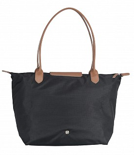 B767-Claude-Folding Tote in Tetron Material with Genuine Leather trimmings - Black
