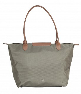 B767-Claude-Folding Tote in Tetron Material with Genuine Leather trimmings - Green