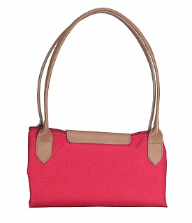 B767-Claude-Folding Tote in Tetron Material with Genuine Leather trimmings - Red