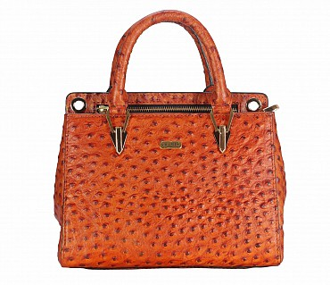 B781-Silvia-Double Short handle cum Sling bag in Genuine Leather - Orange