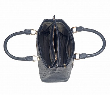 B781-Silvia-Double Short handle cum Sling bag in Genuine Leather - Black