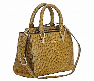 B781-Silvia-Double Short handle cum Sling bag in Genuine Leather - Green