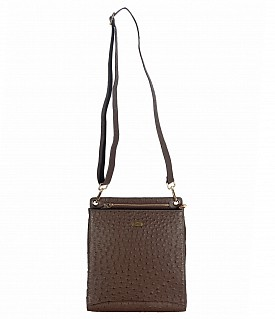 B782-Albela-Sling cross body bag in Genuine Leather - Brown.