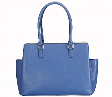 B809-Laura-Shoulder work bag in Genuine Leather - Blue