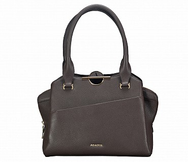 B813-Barbara-Shoulder work bag in Genuine Leather - Brown.