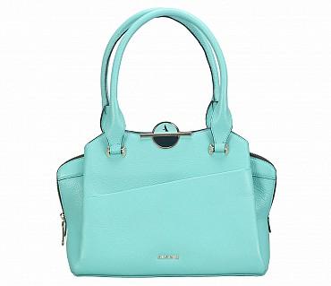 B813-Barbara-Shoulder work bag in Genuine Leather - Seagreen