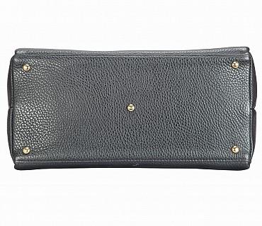 B813-Barbara-Shoulder work bag in Genuine Leather - Black