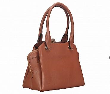 B813-Barbara-Shoulder work bag in Genuine Leather - Tan