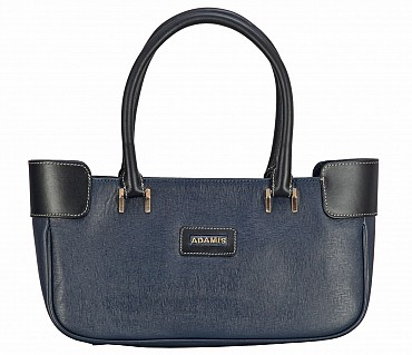 B819-Delia-Double handle shoulder bag in Genuine Leather - Blue/Black