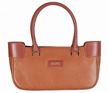 B819-Delia-Double handle shoulder bag in Genuine Leather - Tan