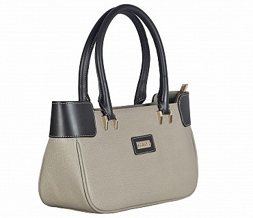 B819-Delia-Double handle shoulder bag in Genuine Leather - Tope / Brown
