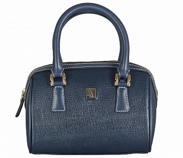 B821-Febe-Double Short handle cum Sling bag in Genuine Leather - Blue