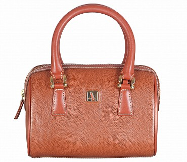 B821-Febe-Double Short handle cum Sling bag in Genuine Leather - Tan