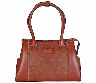B822-Jesenia-Double Short shoulder handle bag in Genuine Leather - Tan