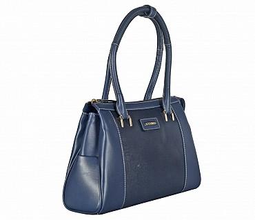 B822-Jesenia-Double Short shoulder handle bag in Genuine Leather - Blue