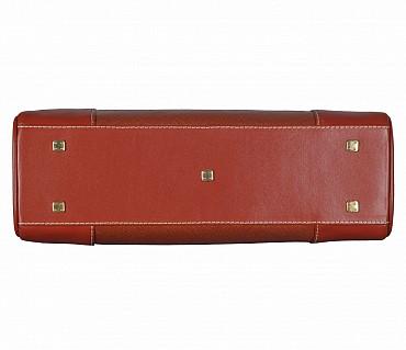 B822-Jesenia-Double Short shoulder handle bag in Genuine Leather - Tan