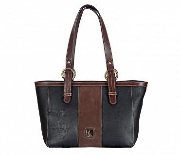 B828-Christa-Shoulder work bag in Genuine Leather - Black/Brown