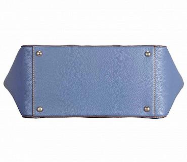 B828-Christa-Shoulder work bag in Genuine Leather - BLU/BRN