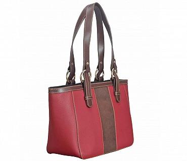 B828-Christa-Shoulder work bag in Genuine Leather - RED/BRN