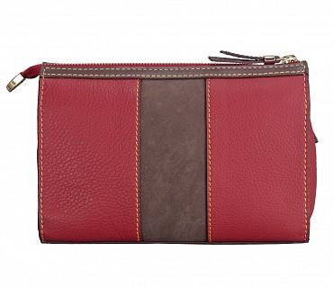 B832-Franka-Sling cross body bag in Genuine Leather - Red