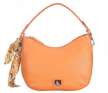 B834-Gretta-Short handle cum Sling bag in Genuine Leather - Orange