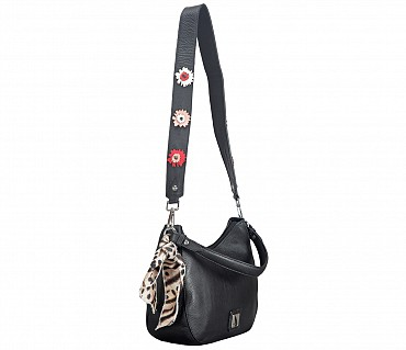 B834-Gretta-Short handle cum Sling bag in Genuine Leather - Black