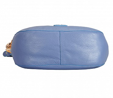 B834-Gretta-Short handle cum Sling bag in Genuine Leather - Blue