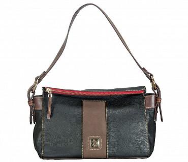 B835-Gretta-Short handle cum Sling bag in Genuine Leather - Black