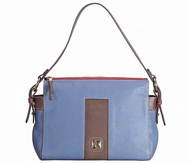 B835-Gretta-Short handle cum Sling bag in Genuine Leather - Blue