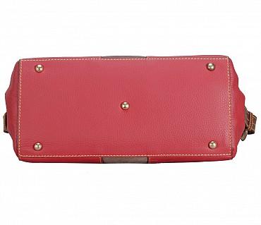 B835-Gretta-Short handle cum Sling bag in Genuine Leather - Red