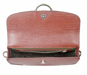 B838-Kristin-Evening bag in Genuine Leather - Brown