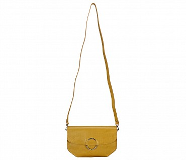 B838-Kristin-Evening bag in Genuine Leather - Mustard