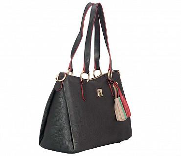4365cb98df4bda ... B842-Isabella-Shoulder work bag in Genuine Leather - Black ...