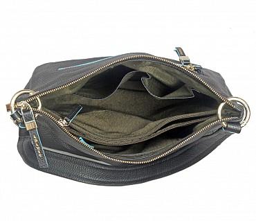 B849-Elena-Double handle shoulder bag in Genuine Leather - Black