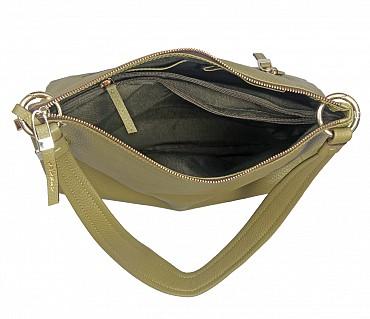 B849-Elena-Double handle shoulder bag in Genuine Leather - Green