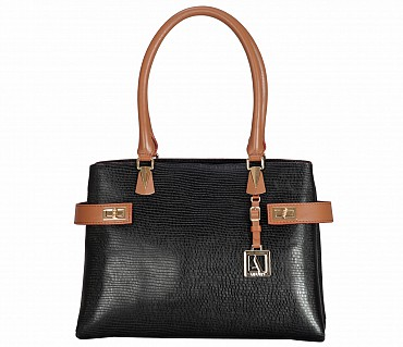 B850-Ariana-Shoulder work bag in Genuine Leather - Black