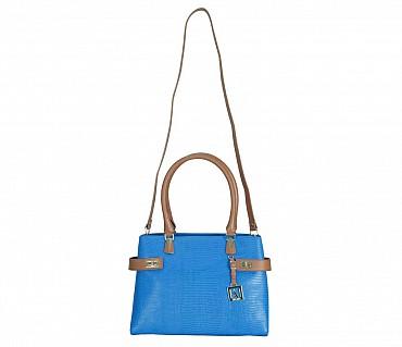 B850-Ariana-Shoulder work bag in Genuine Leather - Blue
