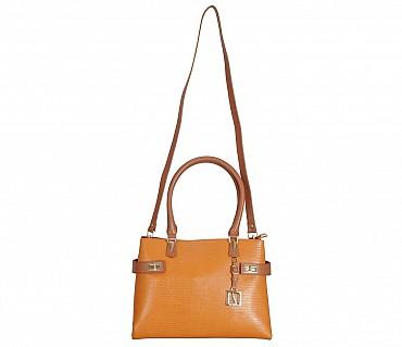 B850-Ariana-Shoulder work bag in Genuine Leather - Tan