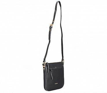 B859-Georgina-Sling cross body bag in Genuine Leather - Black