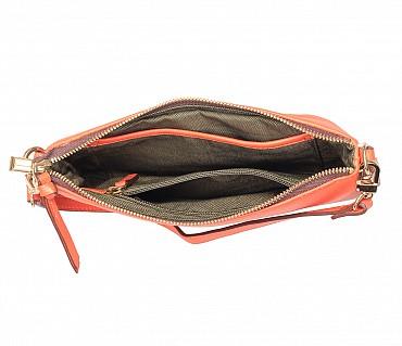 B860-Leocadia-Evening Bag in Genuine Leather - Orange