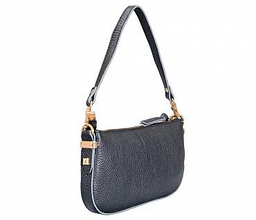 B860-Leocadia-Evening Bag in Genuine Leather - Black