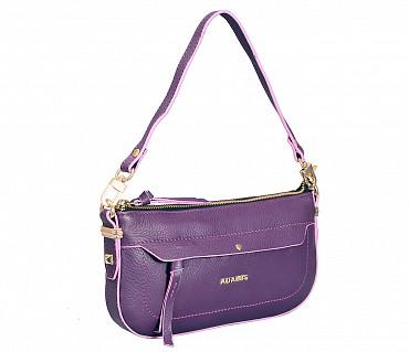 B860-Leocadia-Evening Bag in Genuine Leather - Purple